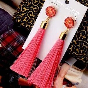 Womens Tassel Earrings in Pink